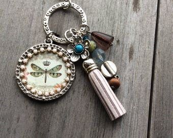 Green Dragonfly Necklace/Tassel/Garden/Boho/Hippie