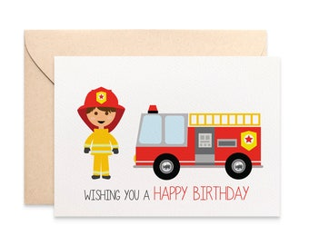 Birthday Card Boy, Firefighter Card with Red Fire Engine, Cards for Boys, Wishing you a Happy Birthday Card for the Birthday Boy, HBCC240