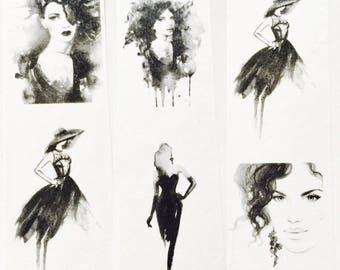 Black and White Glamour Girl Washi Tape