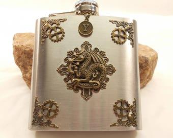 Dragon Flask - Personalize Gift - Silver & Bronze Artisan Designed Flask - Stainless Steel Flask Velvet Gift Bag - Worldwide Shipping
