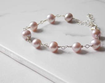 Pink Lavender Freshwater Pearl Bracelet in Sterling Silver. Freshwater, Pearl, Pink Jewelry