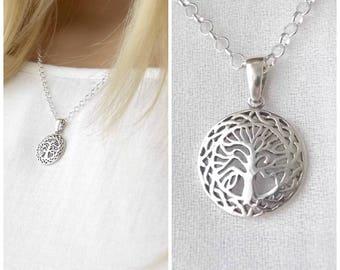 Sterling Silver Celtic Family Tree Charm Necklace. Irish Jewelry, Mothers Jewelry, Grandmothers Jewelry, Adopted Mom Jewelry