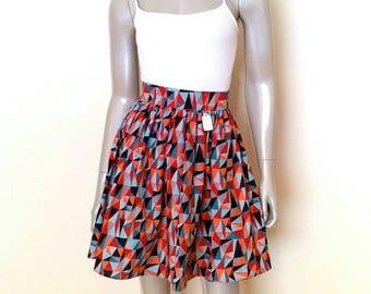Geometic Fun Wax Print Summer Skirt