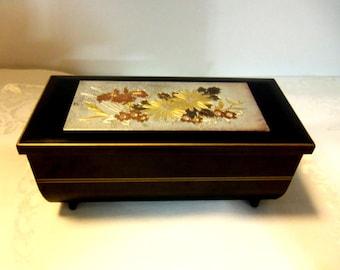 Small Vintage Black Laquer Jewel/Music Box