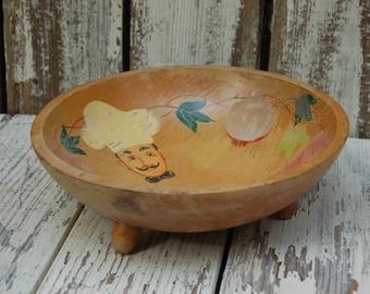 Vintage footed wooden bowl. Vintage wooden salad bowl. Painted salad bowl. Made in America Salad bowl