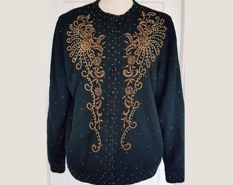 1950s vintage wool beaded cardigan, excellent condition