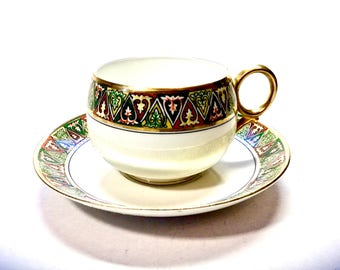 Limoges B&C France Tea Cup and Saucer Geometric Heart Scroll Design. Teacup Collectables