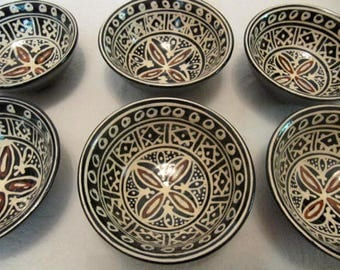 Vintage Uzbek 6 CERAMIC TEA BOWLS Cups Unusual
