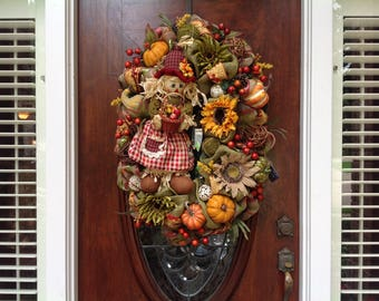 Large Oval Burlap and Mesh Scarecrow Wreath