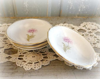 vintage butter pats with pink roses, set of 4, cottage decor, farmhouse, spoon rest,  tea bag holders, ring dish, shabby,  porcelain