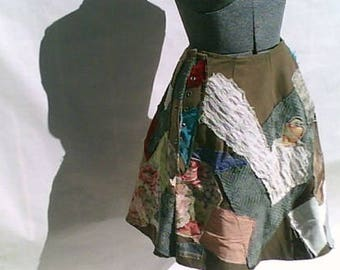"Green Heavyweight Patchwork ""Pipi Long Stockings"" Skirt"
