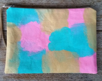 Light Bright Abstract- pink, aqua & metallic gold on off white - flat zip pouch - hand painted and handmade