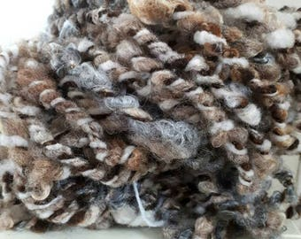 Extra bulky Handspun textured yarnknit crochet dolls hair  photo prop weaving. Natural neutral colours Shetland, Gottland mohair luxury
