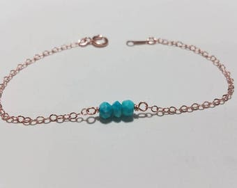 Dainty Turguoise Rose Gold Filled Bracelet - Tiny Gemstone Jewelry, Birthday Gift, Bridesmaid Gift