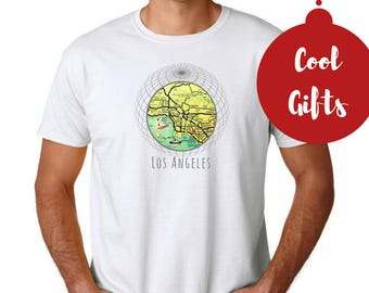 Outdoors Gift, Los Angeles T Shirt, Los Angeles Gifts, Christmas Gifts Men, Travel Gifts for Boyfriend LA T Shirt California Map Unisex Tee