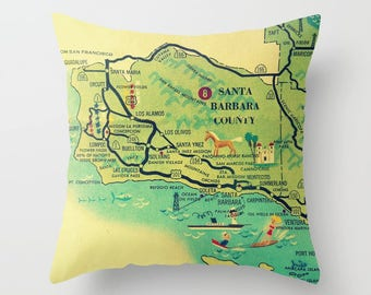 Travel Gift- Santa Barbara Pillow Cover California Pillow Santa Barbara Map Wanderlust Gift  Los Alamos, Santa Ynez Vintage Map Throw Pillow