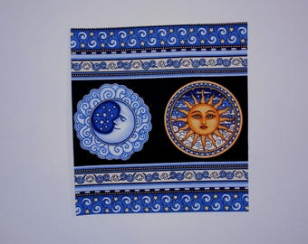 "Celestial Sun Moon 7 1/2"" Iron On Patch"