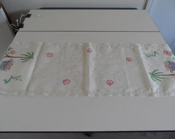 Vintage Hand Embroidered Scarf Palm Tree with Basket of Flowers Trimmed in Lace