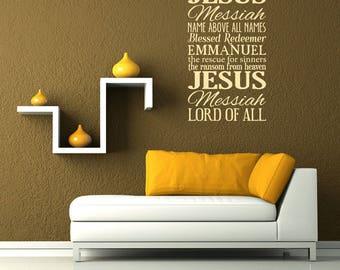 CUSTOM: For Pamela - Storm Grey Names of Jesus Removable Vinyl Wall Art