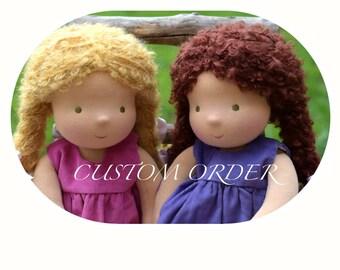"Waldorf Doll 16"", Custom made Mohair boucle hair"