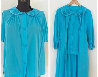 Vintage 3 Piece Pajama Set / L/XL / Pj's and Robe
