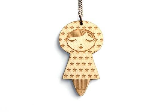 Personalized doll PENDANT - doll necklace - custom jewelry - name jewellery - message - graphic matriochka - lasercut wood or acrylic