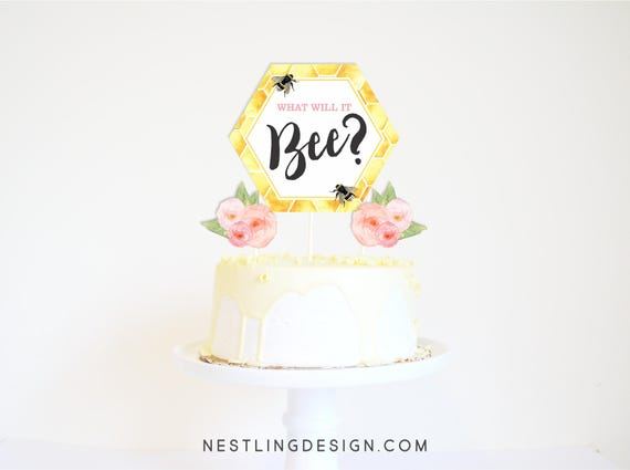 What Will It Bee Cake Topper Printable Centerpiece