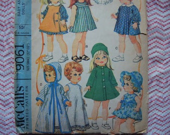 """vintage 1960s McCalls sewing pattern 9061  baby doll wardrobe for 12""""-16"""" dolls"""
