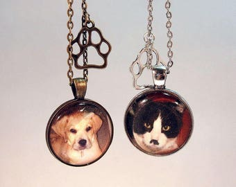 Pet Loss Necklace Personalized Pet Photo Necklace With Matching Gift Tin Jewelry Cat Dog Photo Necklace