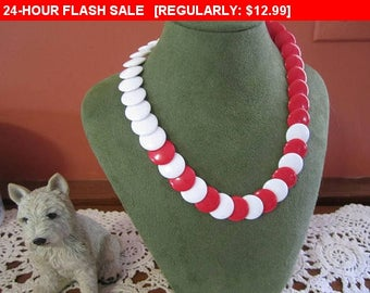 Red and white bead choker necklace, hippie, boho, estate jewelry