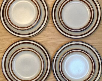 Vintage International Suncraft Stoneware Dishes, Japan, Four Dinner and Four Salad Plates, Mid Century
