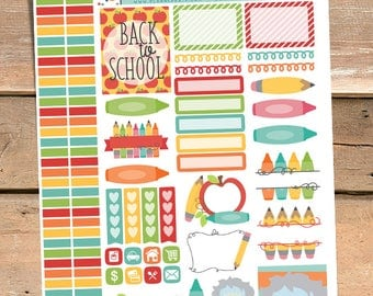 Back to School Stickers Planner Printable - Pencil and Crayon Printable Stickers