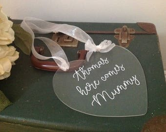 Acrylic wedding sign /flower girl sign / page boy sign / Wedding sign / here comes Mummy