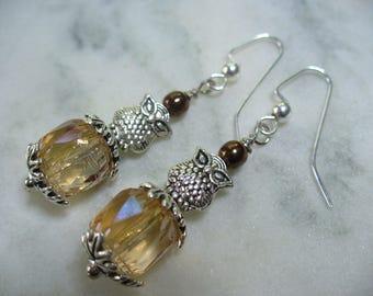Brown Owl Dangle Earring, Silver Owl Earring, Womens Jewelry, Oak Leaves, Winter Owl, Silver Earrings