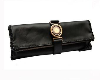 Black Folded Clutch with ledbelt - Handmade bag - All day bag - Evening bag