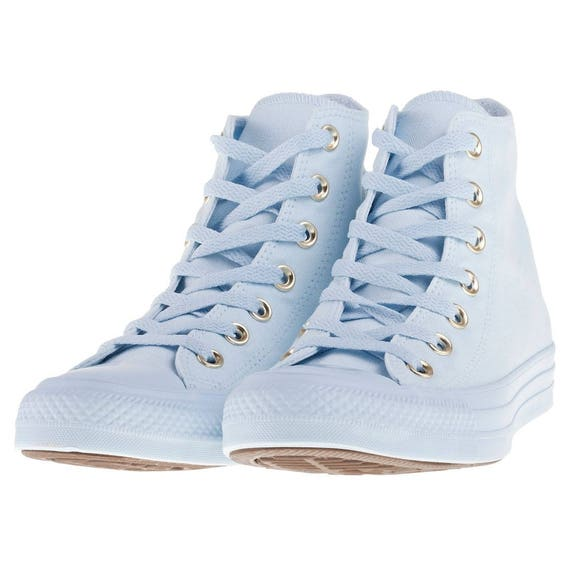 Baby Blue Converse High Top Custom Gold accent Sky w/ Swarovski Crystal Rhinestone Bling Wedding Chuck Taylor All Star Sneaker trainer shoes