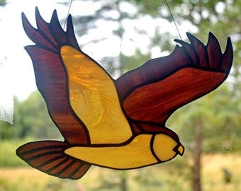 Owl Stained Glass Bird, Wildlife art, Owl Suncatcher, Stained Glass Owl, Glass Art