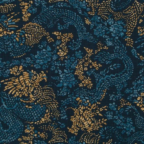 Navy Gold Upholstery Fabric Modern Dark Blue Animal Dragon