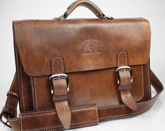 "Leather Messenger Bag,  Leather Briefcase, Leather shoulder bag, Macbook Pro, 15"" 189"