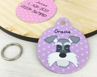 Schnauzer Dog ID Name Tag Personalised