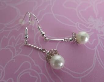 White bells earrings