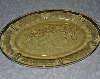 Federal Amber Cabbage Rose Platter ~ Floral Depression Glass