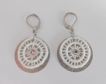 Earrings with white lace and sequins