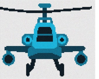 Needlepoint Kit or Canvas: Blue Toy Helicopter