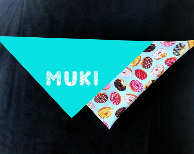 Doughnut Personalized Dog Bandana - Double Layer with Your Dog's Name in Donut Font