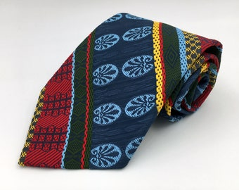 Vintage 1970s Wide Blue Polyester Tie with Green Yellow and Red Stripes by Prince Consort