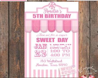 Candy Sweet Shoppe Theme Pink Birthday Invitation