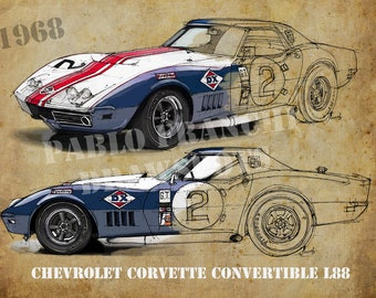 CHEVROLET CORVETTE CONVERTIBLE, 8.62x12 in and bigger sizes,gift for husband,teen bedroom decoration,office decoration,red and grey poster