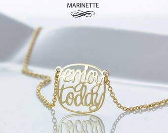 Personalized Quote necklace - Enjoy Today