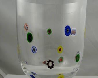 Millefiori Glass Vase Hand Blown Glass Art Vase Murano Style Blown Glass